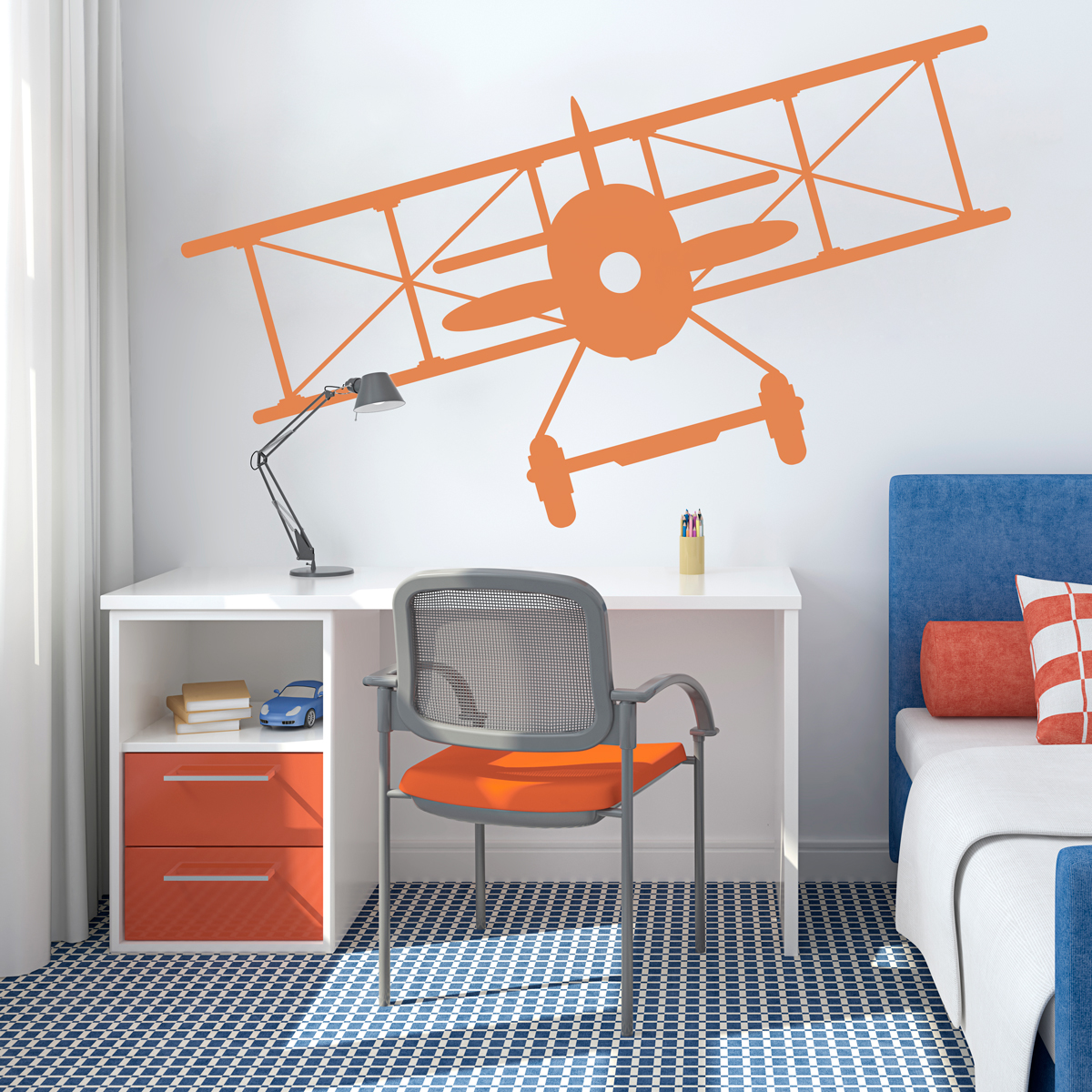 Vintage Airplane Wall Decal | Airplane Wall Sticker | Wallums