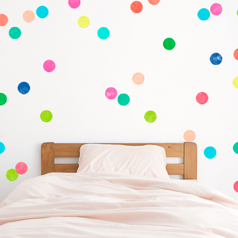 Bright polka dots printed wall decal for Polka dot wall decals for kids rooms