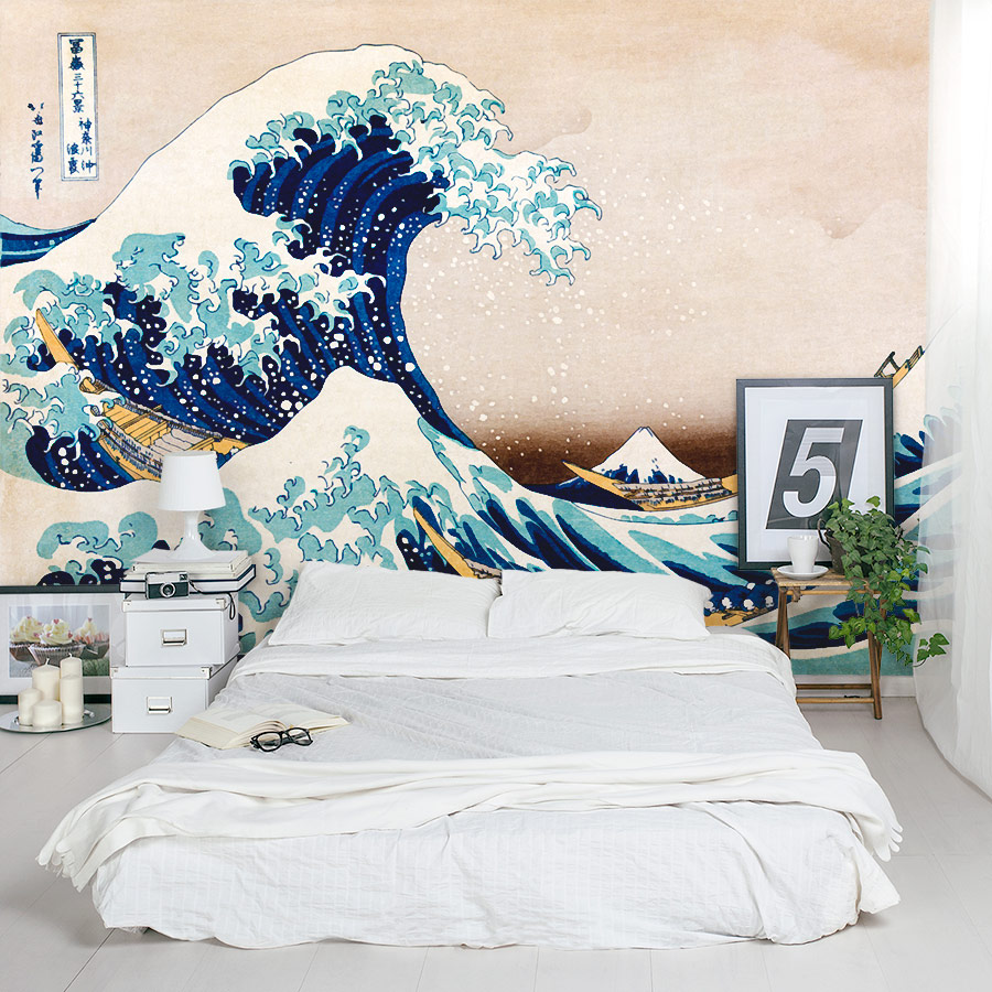 great wave wall mural. Black Bedroom Furniture Sets. Home Design Ideas