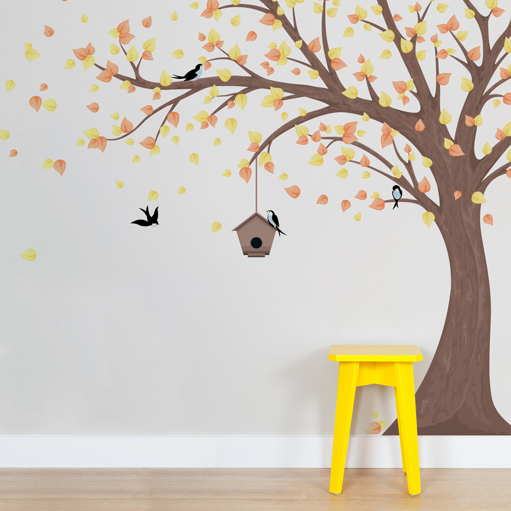 printed windy tree with birdhouse wall decal. Black Bedroom Furniture Sets. Home Design Ideas