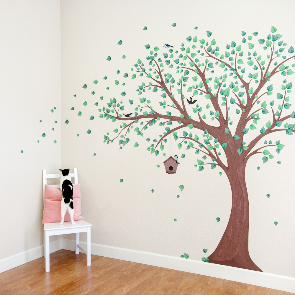 Printed Windy Tree With Birdhouse Wall Decal