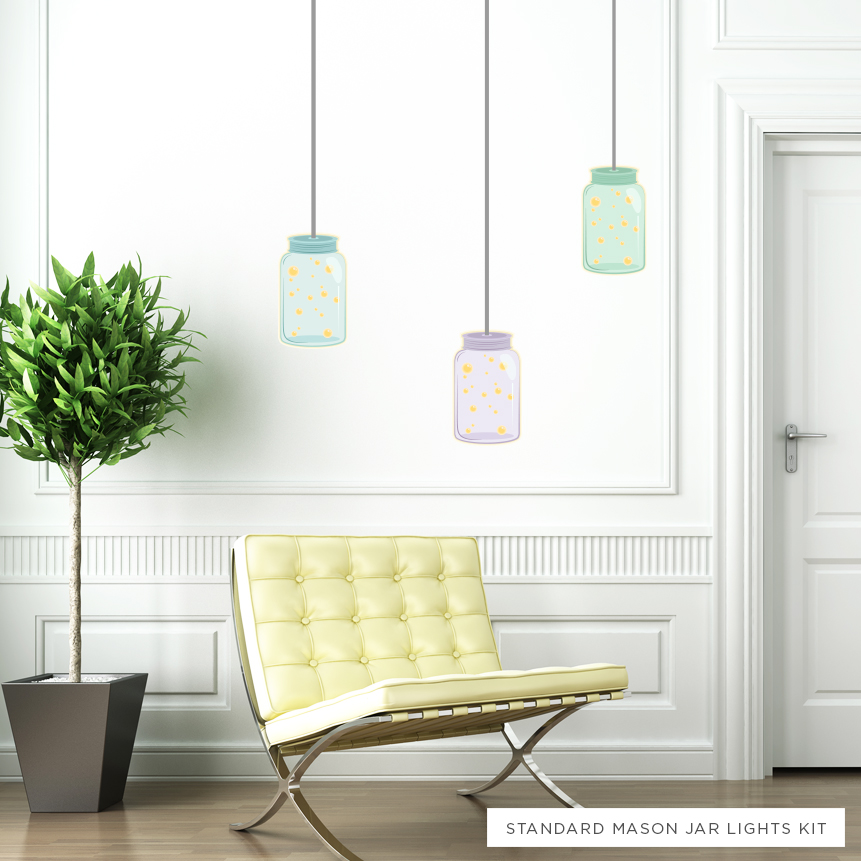 mason jar light printed wall decals