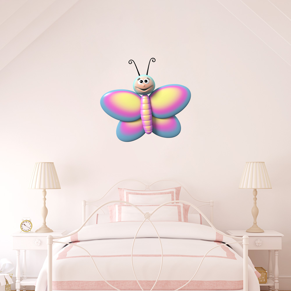 3d colorful butterfly printed wall decal. Black Bedroom Furniture Sets. Home Design Ideas