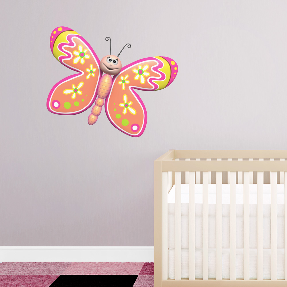 3d Floral Butterfly Printed Wall Decal