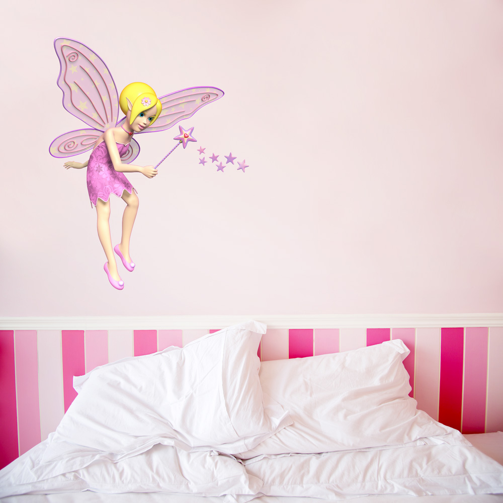 3D Pink Fairy Wall Decal