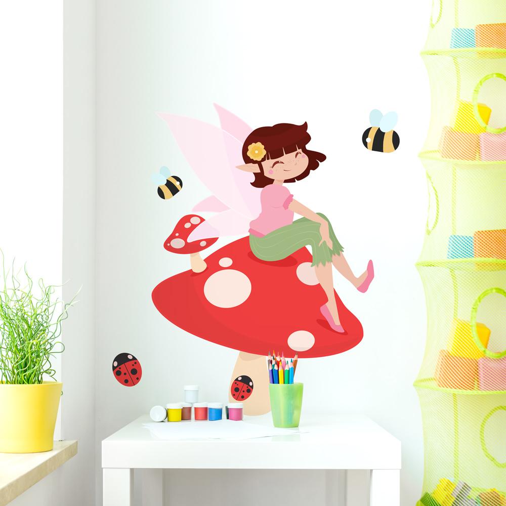 Fairy On A Mushroom Printed Wall Decal