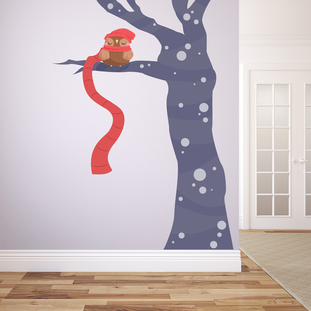 Snowy Owl Tree Printed Wall Decal