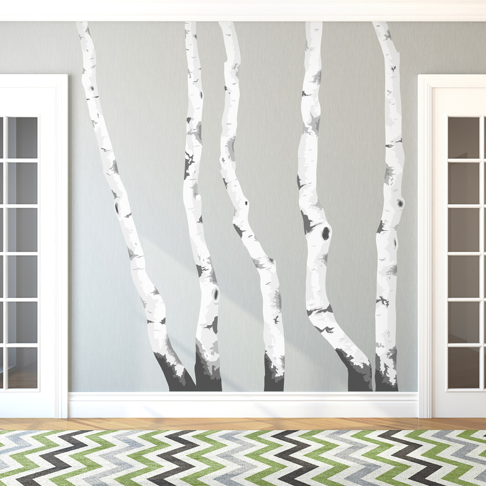 High Quality Birch Trees Printed Wall Decal