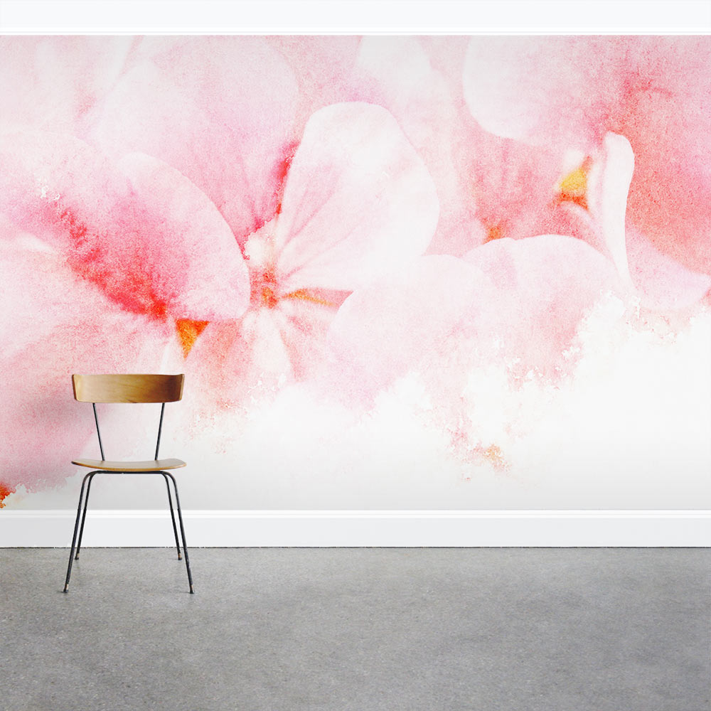 Pink Floral Wall Mural
