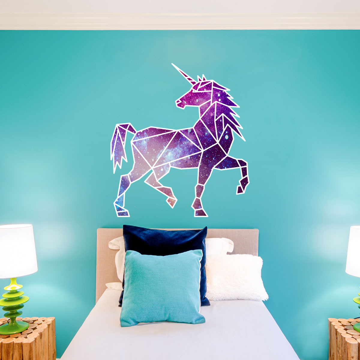 geometric unicorn wall art sticker