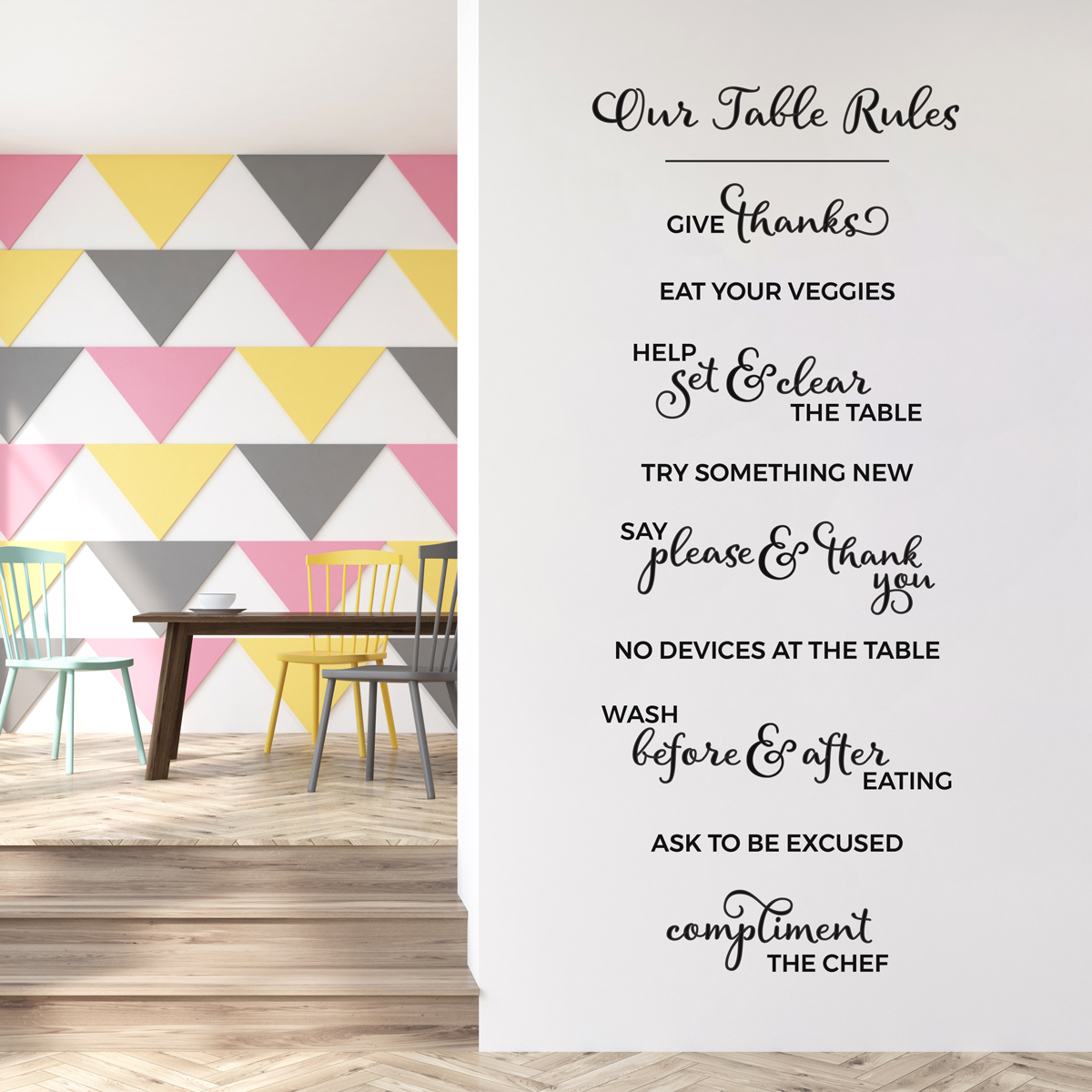 Merveilleux Kitchen Rules Wall Quote Decal