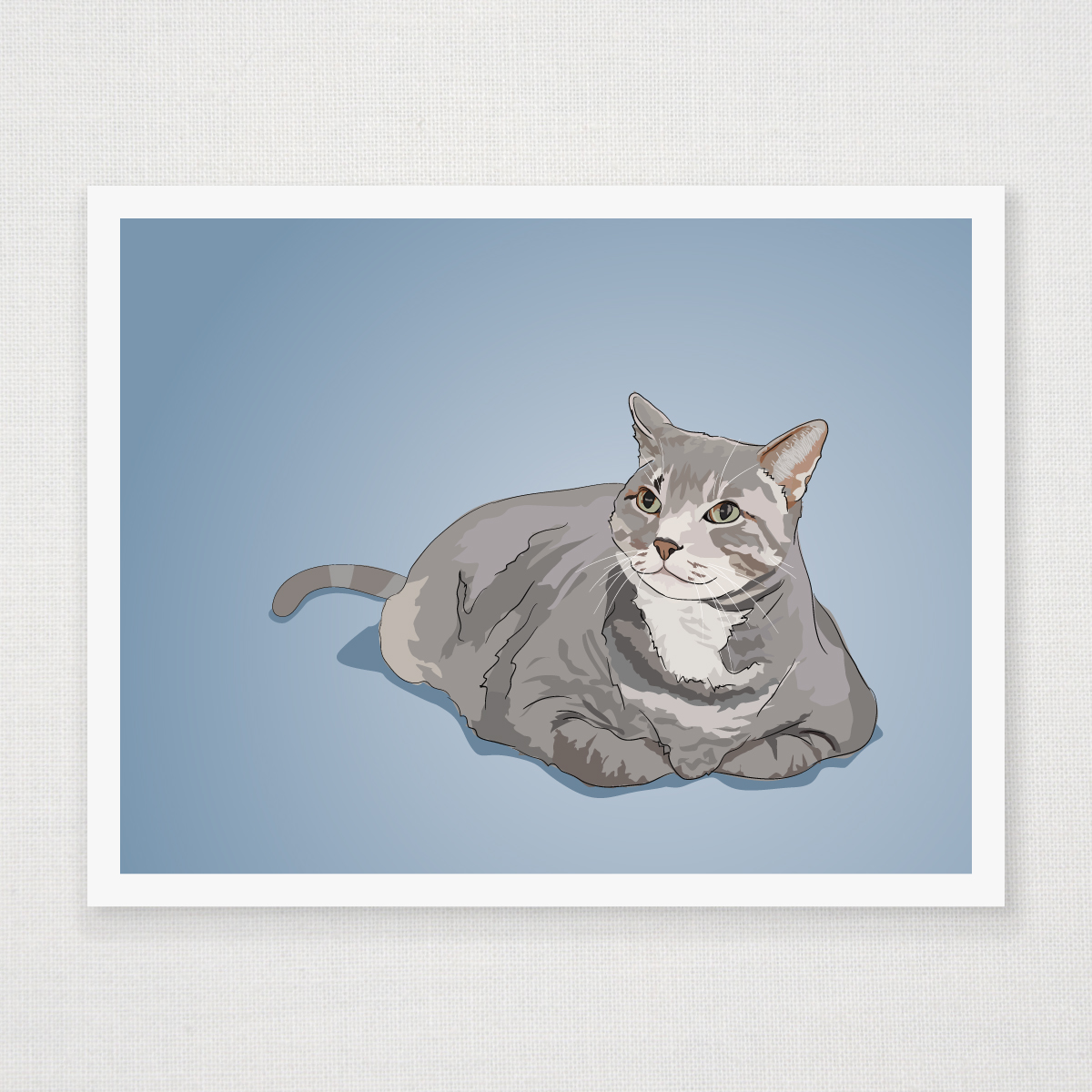 Fat Grey Tabby Cat Art Print