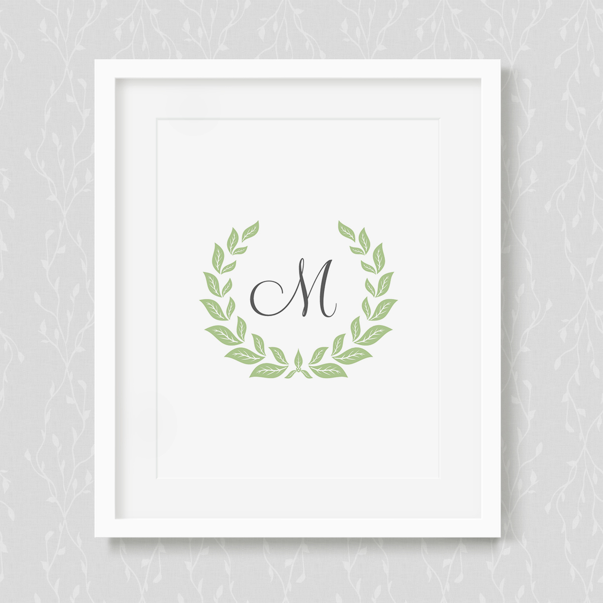 Monogram Laurel Wreath Art Print
