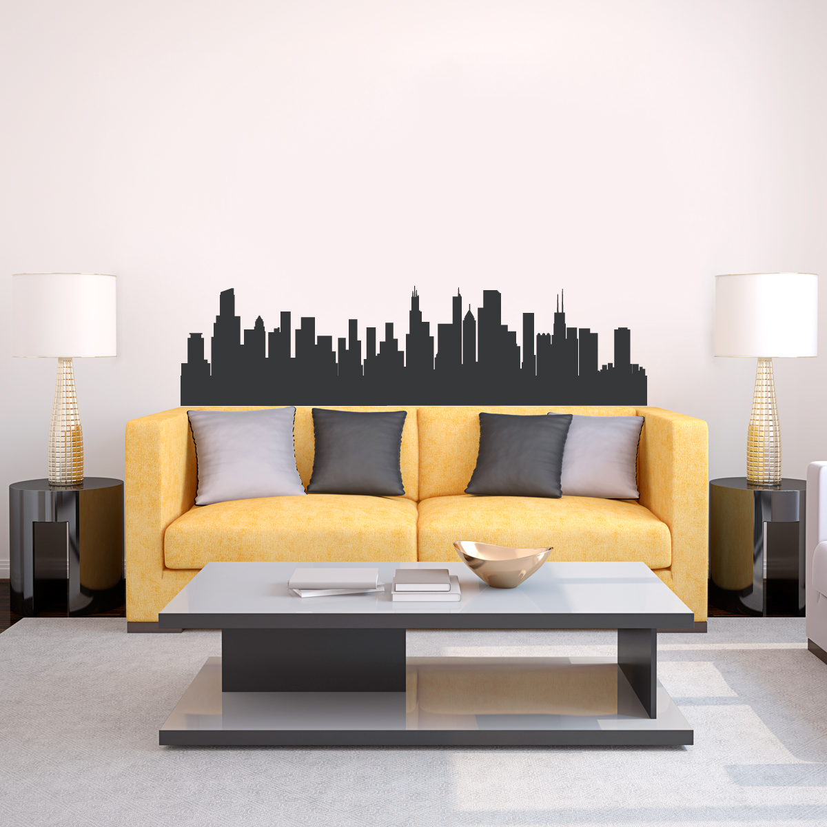 & Chicago Illinois Skyline Vinyl Wall Decal Sticker