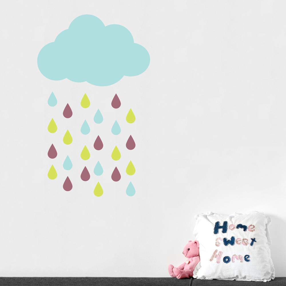 Rain Cloud And Drops Wall Decal ...