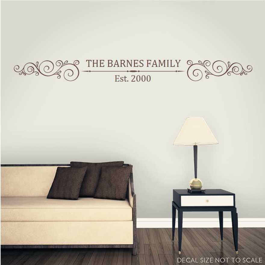 Family Name Est. Crest Monogram Wall Decal