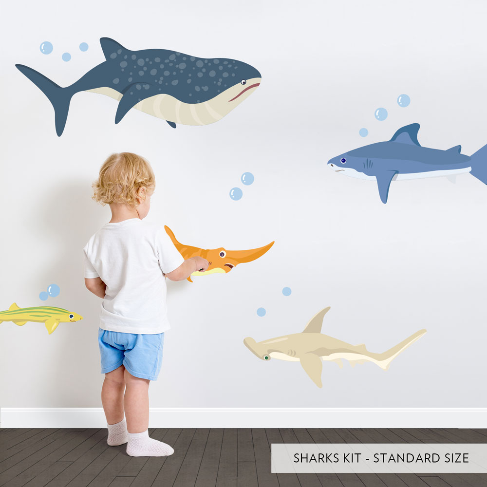Wonderful Sharks Printed Wall Decal ...