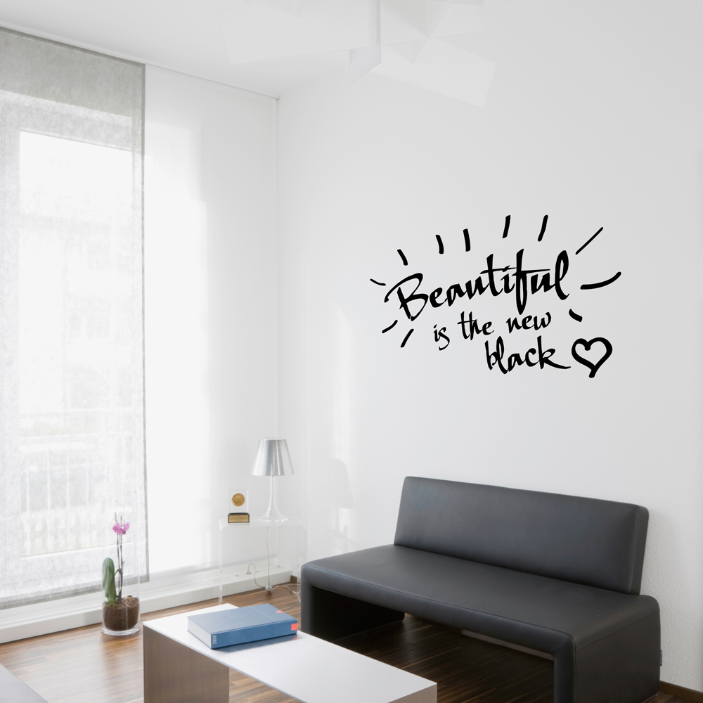 Amazing Beautiful Is The New Black Wall Quote Decal