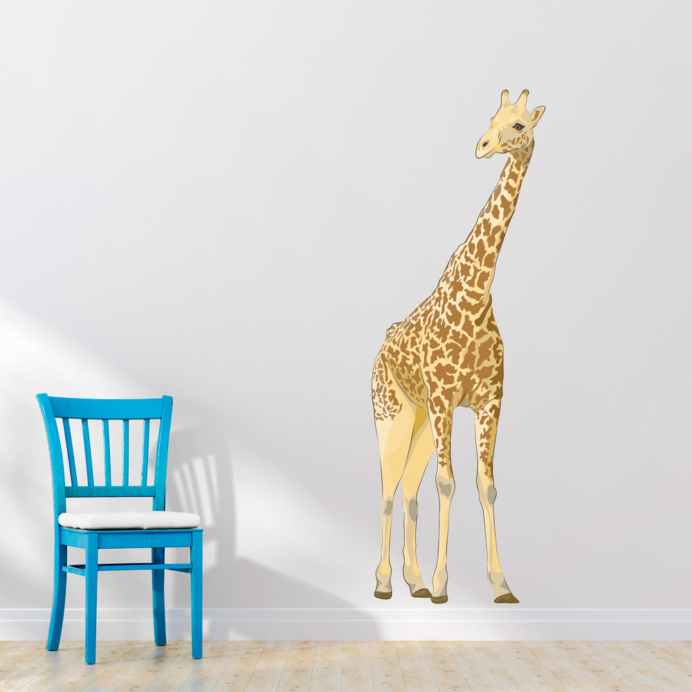 Superb Giant Giraffe Printed Wall Decal
