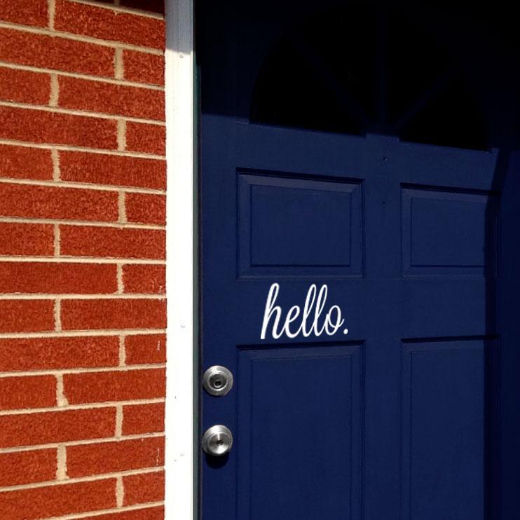 & Hello Door Decal
