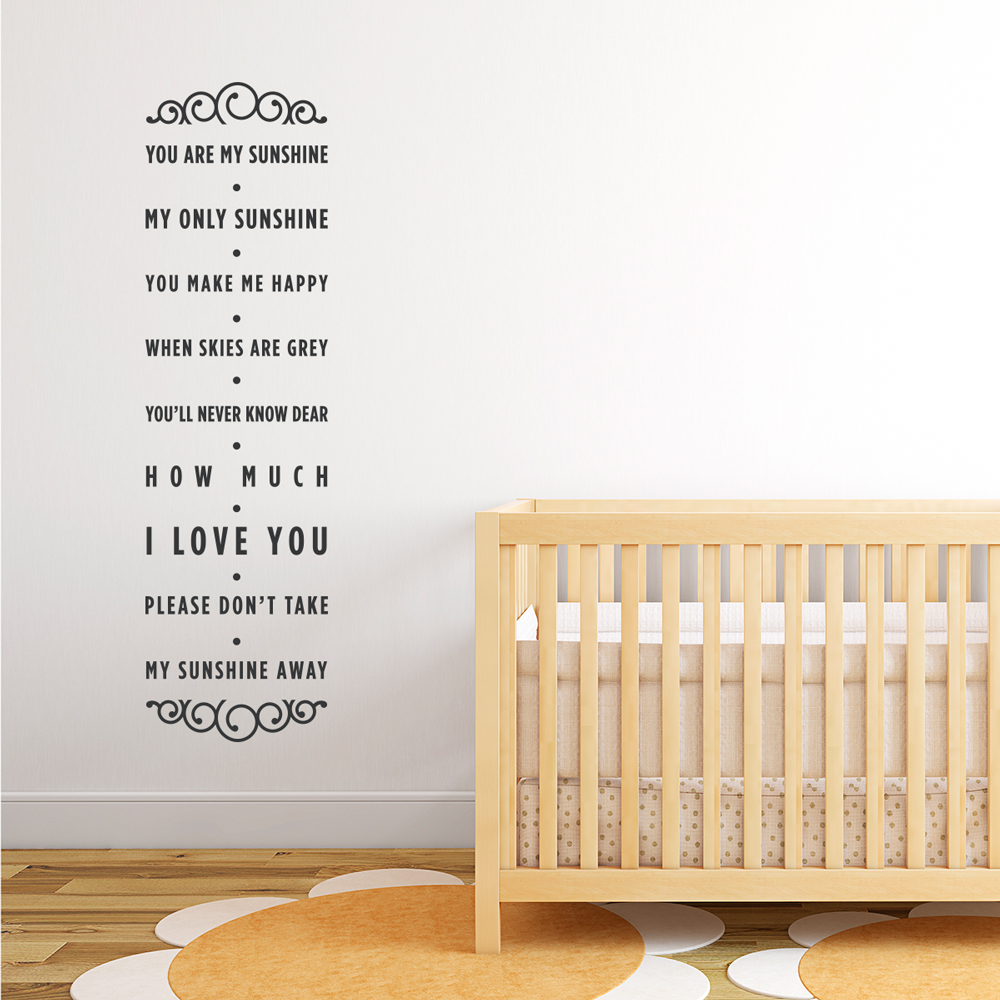 You Are My Sunshine Wall Decal Quote