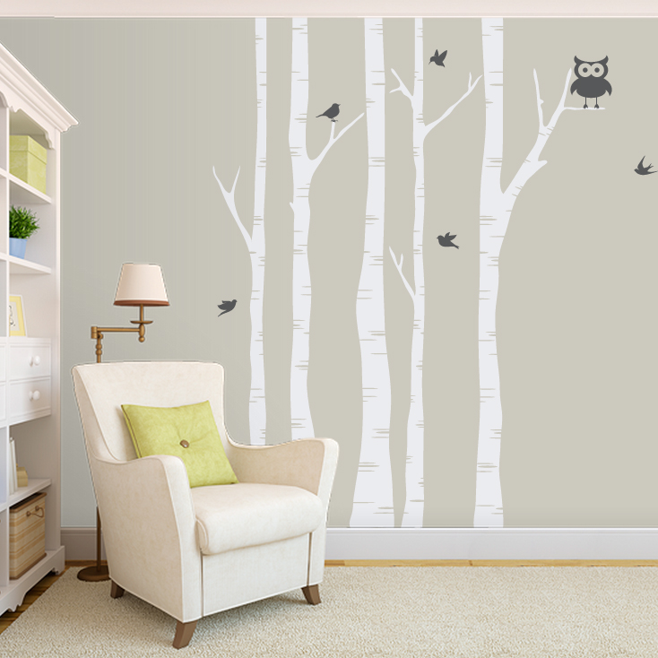 Birch Tree Wall Decal With Birds Tree And Owl Wall Decal - How to put up a tree wall decal