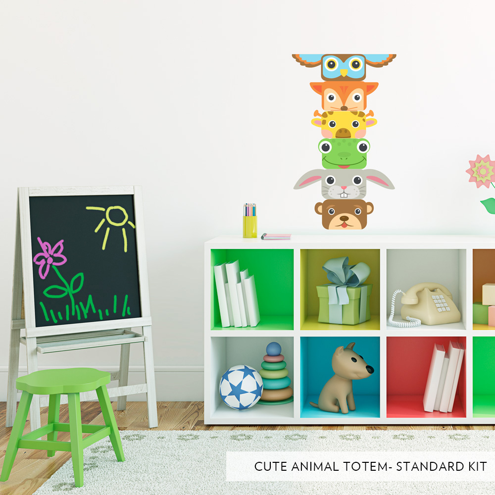 sc 1 st  Wallums & Cute Animal Totem Poll Printed Wall Decal