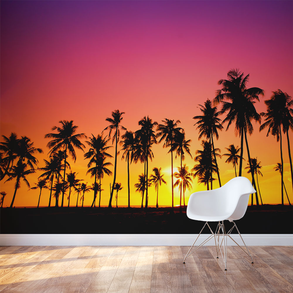 Palm tree sunset wall mural for Tree wallpaper for walls