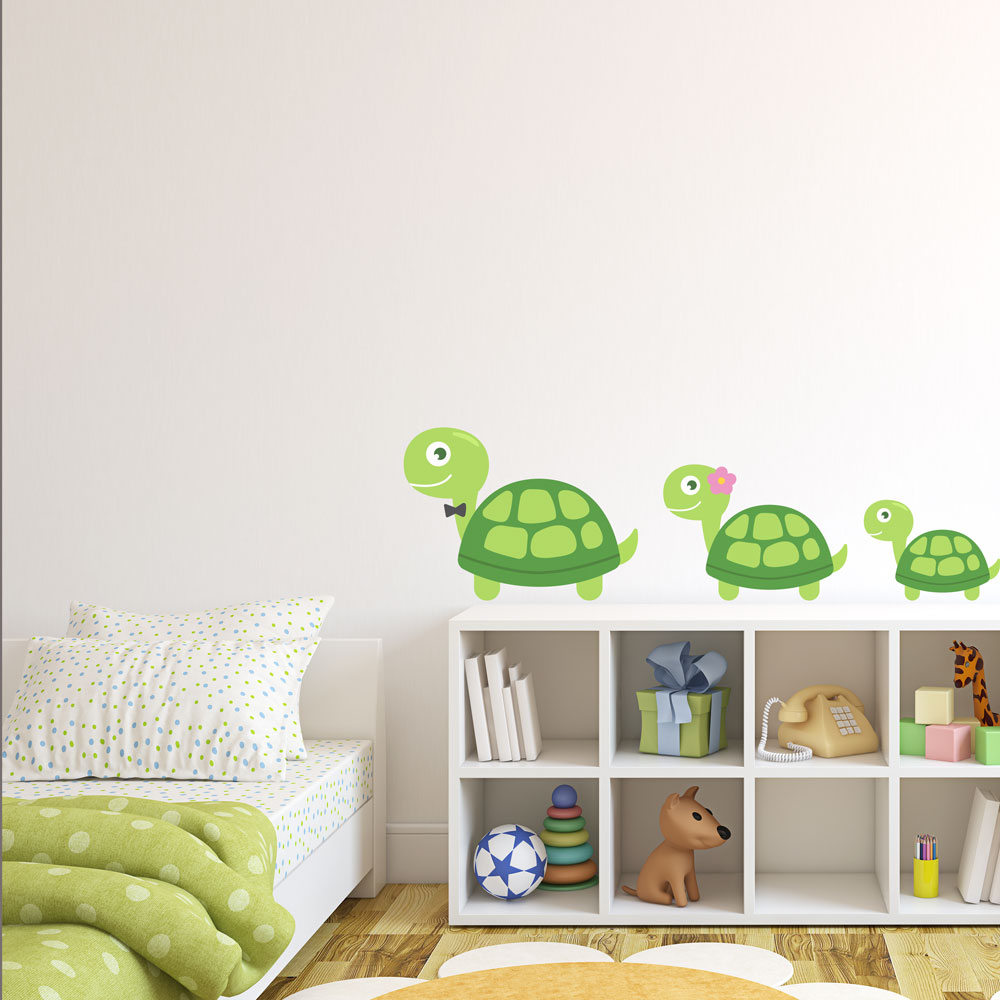 & Turtle Family Printed Wall Decal