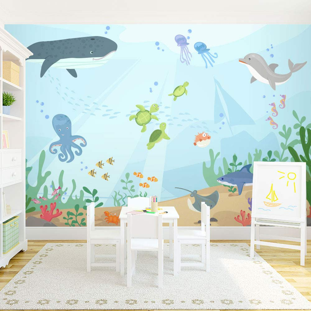 Under the sea wall mural underwater mural for kids for Wall decals kids room