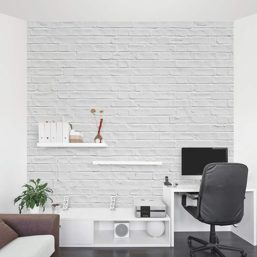 White Brick Wall Mural Brick Wall Decal Wallums