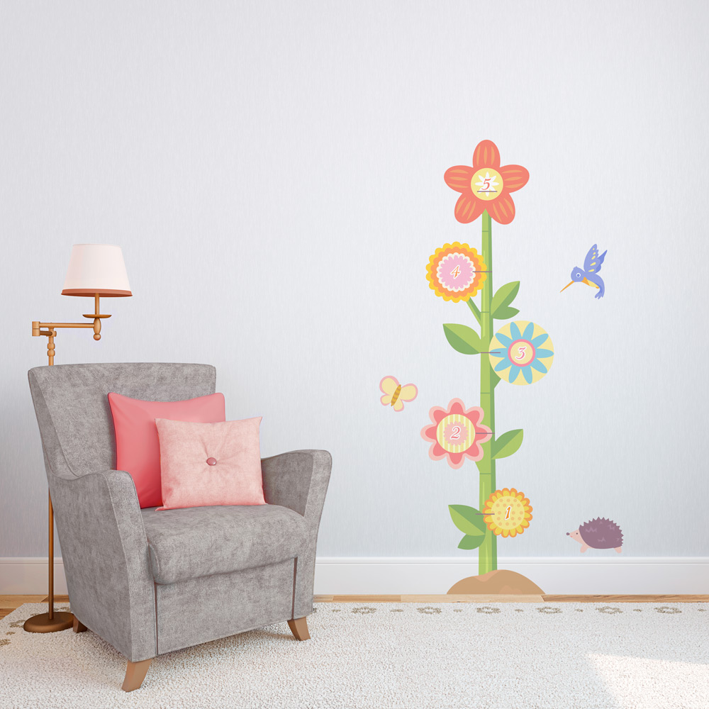 Flower Growth Chart Decal Wall Growth Chart Decal