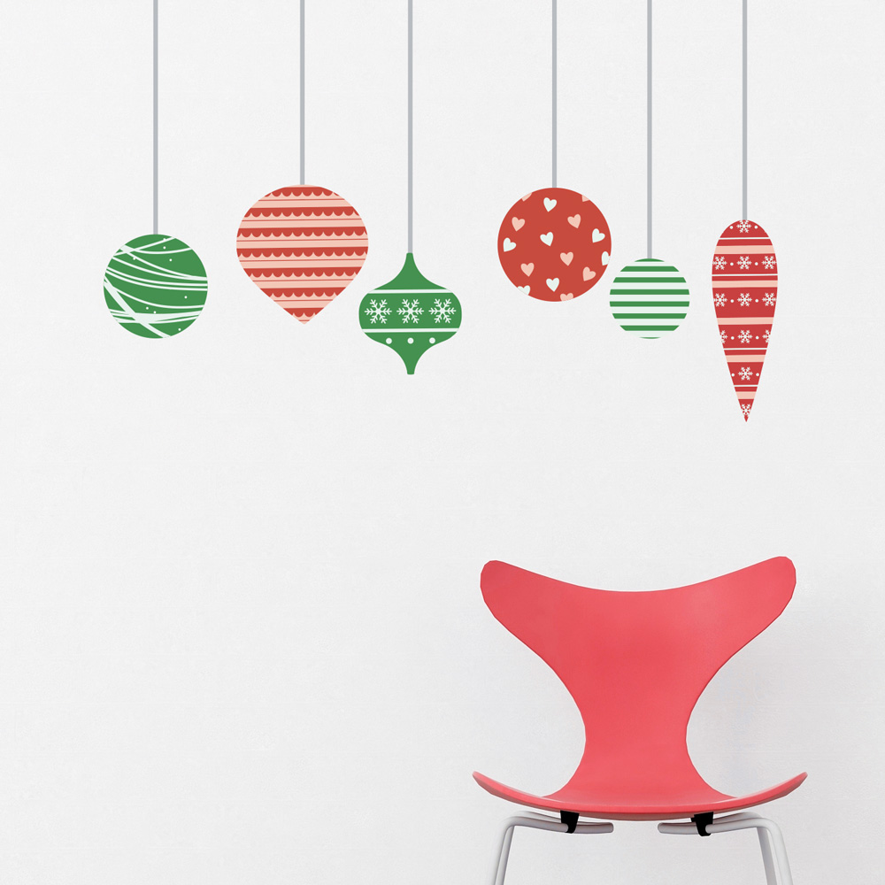 Christmas Ornaments Wall Decals | Removable Christmas Wall ...