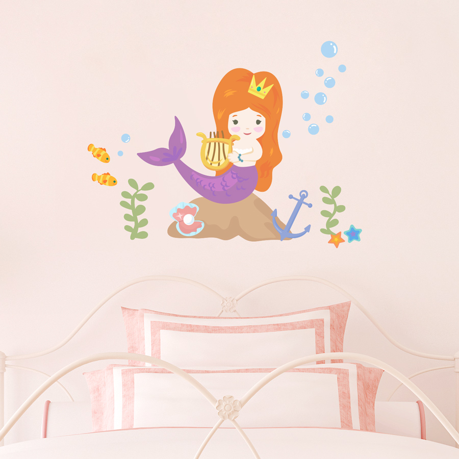 Cute Mermaid Printed Wall Decal ...