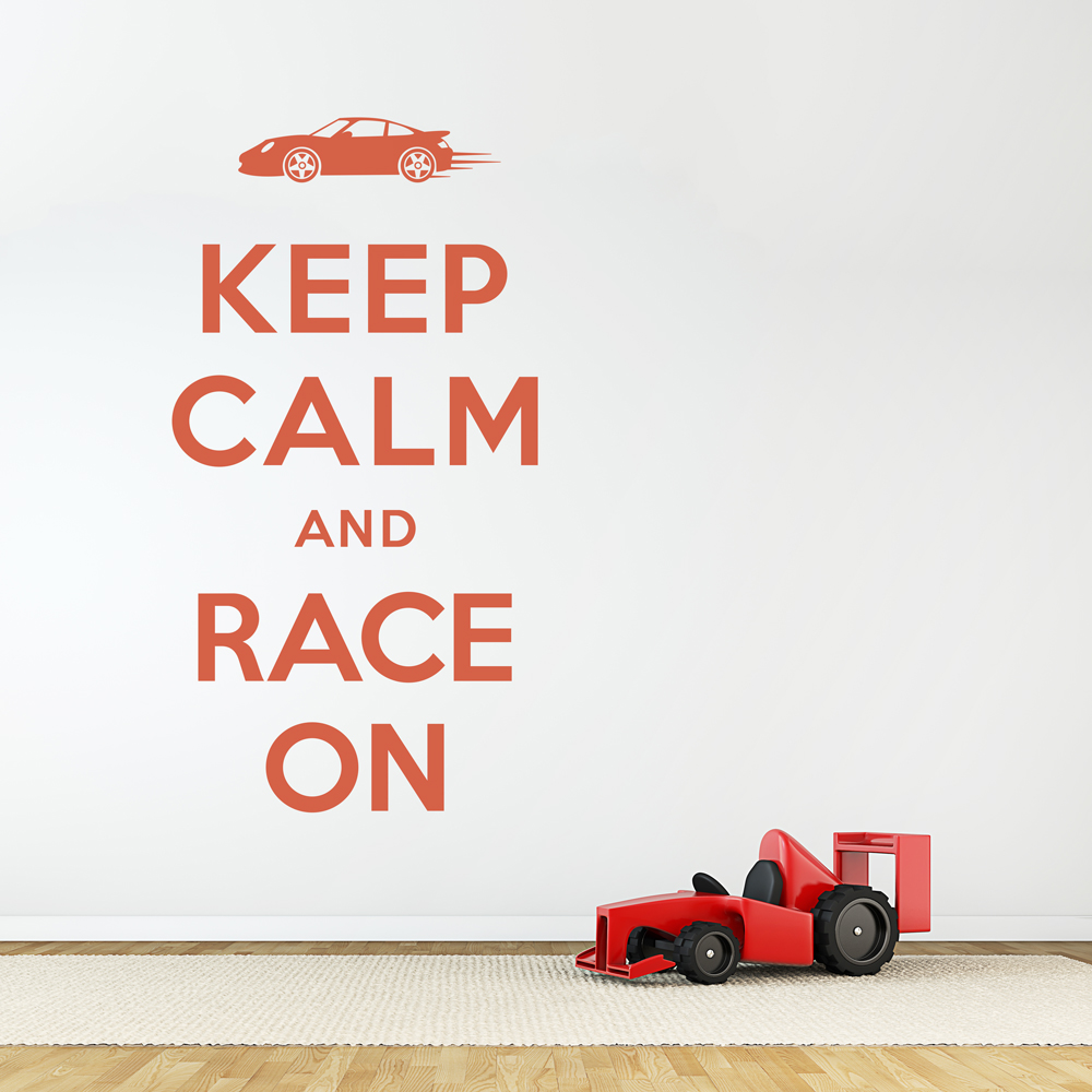 Keep Calm And Race On Wall Quote Decal