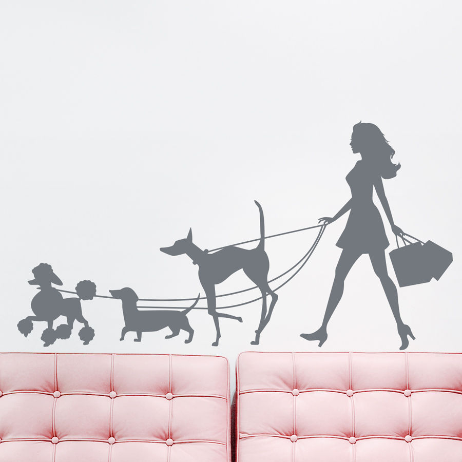 Beautiful Girl Walking Dogs Wall Decal