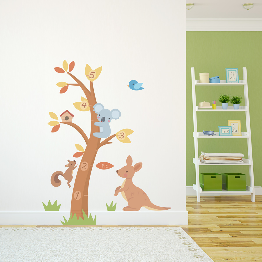 Koala and kangaroo growth chart wall decal