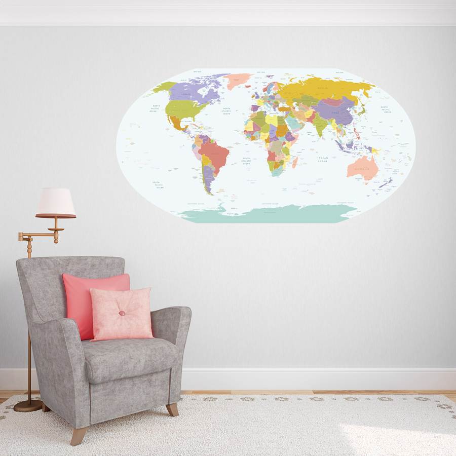 Globe world map printed decal publicscrutiny Image collections