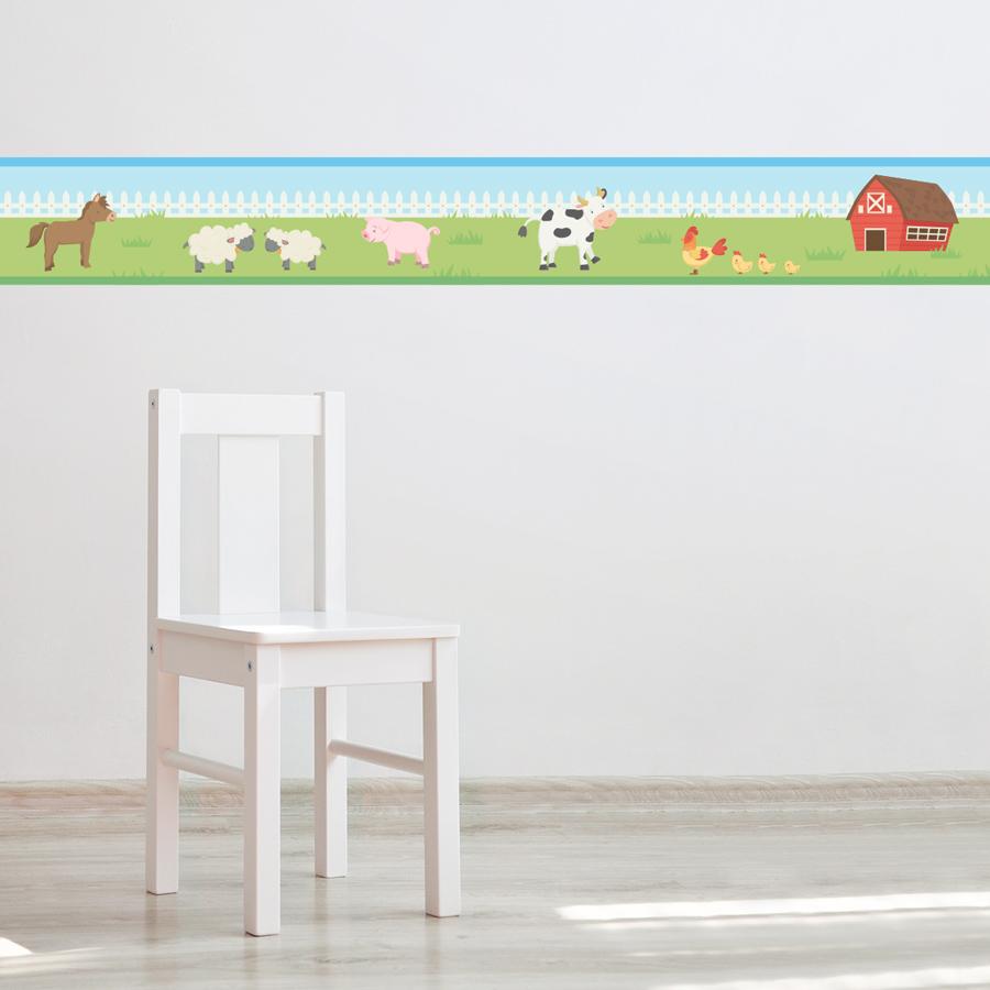 Barn family removable border for Temporary wallpaper border