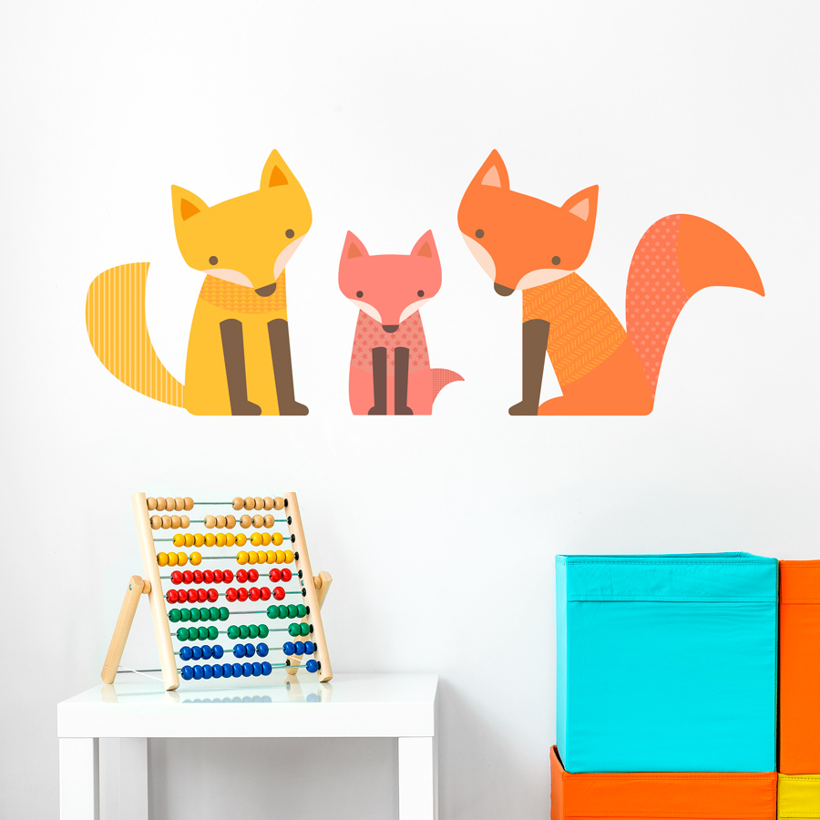 Fox Family Printed Wall Decal