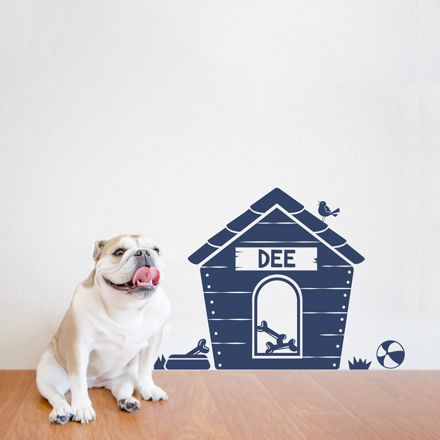 Elegant Custom Name Dog House Wall Decal
