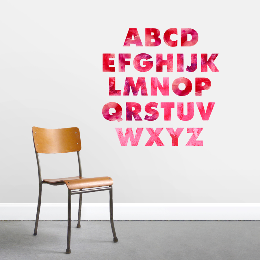 Watercolor Alphabet   Printed Wall Decal