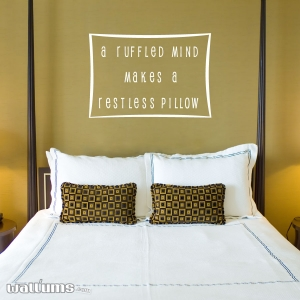 A ruffled wall decal quote
