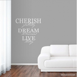 Cherish wall decal quote