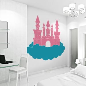 Princess castle in the clouds wall decal