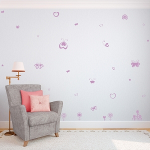 Birds flowers butterflies wall decal