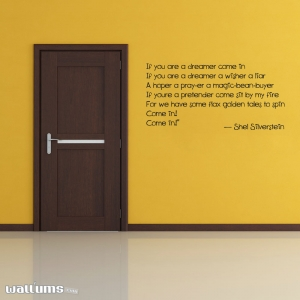If you are a dreamer wall decal quote shel silverstein