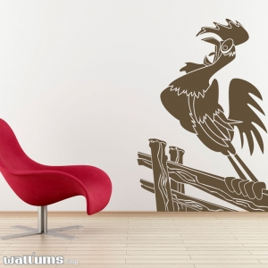 Rooster on a fence wall decal