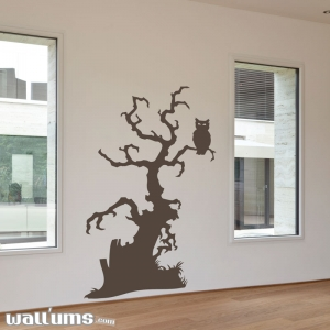 Spooky owl tree wall decal