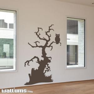 Spooky owl tree wall decal